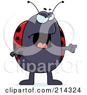 Royalty Free RF Clipart Illustration Of An Angry Ladybug Pointing To The Right by Cory Thoman