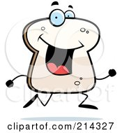 Royalty Free RF Clipart Illustration Of A Happy Bread Character Running by Cory Thoman