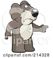 Royalty Free RF Clipart Illustration Of An Angry Koala Pointing To The Right by Cory Thoman