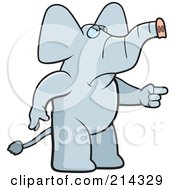 Royalty Free RF Clipart Illustration Of An Angry Elephant Pointing To The Right by Cory Thoman