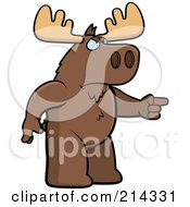 Royalty Free RF Clipart Illustration Of An Angry Moose Pointing To The Right