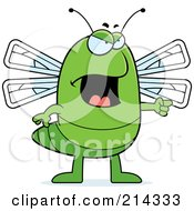 Royalty Free RF Clipart Illustration Of An Angry Dragonfly Pointing To The Right by Cory Thoman