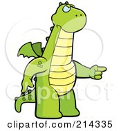 Royalty Free RF Clipart Illustration Of An Angry Dragon Pointing To The Right