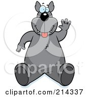 Royalty Free RF Clipart Illustration Of A Big Wolf Sitting And Waving by Cory Thoman