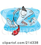 Royalty Free RF Clipart Illustration Of A Big Mean Fish Boss Chasing A Little Fish by Cory Thoman