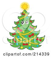 Royalty Free RF Clipart Illustration Of A Christmas Tree Character With A Shining Star 2
