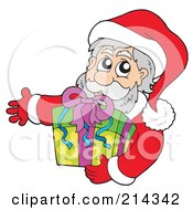 Royalty Free RF Clipart Illustration Of Santa Holding A Gift
