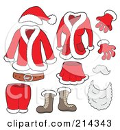 Royalty Free RF Clipart Illustration Of A Digital Collage Of Santa Clothes