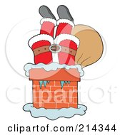 Royalty Free RF Clipart Illustration Of Santa Upside Down In A Brick Chimney