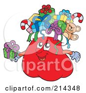 Royalty Free RF Clipart Illustration Of A Santa Sack Character With Gifts