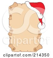 Royalty Free RF Clipart Illustration Of A Santa Hat On A Blank Parchment Scroll 1 by visekart
