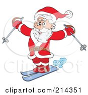 Royalty Free RF Clipart Illustration Of Santa Skiing With Poles