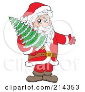 Royalty Free RF Clipart Illustration Of Santa Presenting And Carrying A Christmas Tree