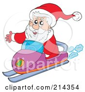 Royalty Free RF Clipart Illustration Of Santa Waving And Operating A Snowmobile