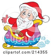 Royalty Free RF Clipart Illustration Of Santa Waving And Riding In A Sleigh