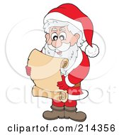 Royalty Free RF Clipart Illustration Of Santa Reading A Blank Scroll