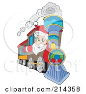 Royalty Free RF Clipart Illustration Of Santa Waving And Driving A Train