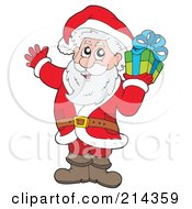 Royalty Free RF Clipart Illustration Of Santa Carrying A Green Gift