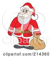Royalty Free RF Clipart Illustration Of Santa Standing By A Sack
