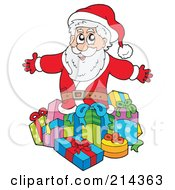 Royalty Free RF Clipart Illustration Of Santa Presenting Gifts