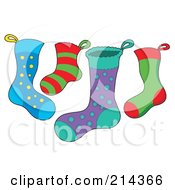 Royalty Free RF Clipart Illustration Of A Digital Collage Of Christmas Stockings