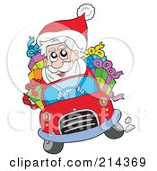 Santa Driving A Car Full Of Gifts