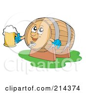 Royalty Free RF Clipart Illustration Of A Happy Beer Barrel Holding A Glass by visekart