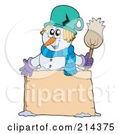 Royalty Free RF Clipart Illustration Of A Wintry Snowman With A Blank Sign 2