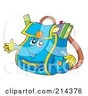 Blue School Bag Character