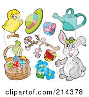 Royalty Free RF Clipart Illustration Of A Digital Collage Of A Chick And Spring Items by visekart
