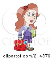 Smart School Girl Carrying A Red Bag