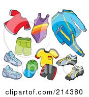 Royalty Free RF Clipart Illustration Of A Digital Collage Of Sports Clothes by visekart