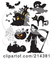 Royalty Free RF Clipart Illustration Of A Digital Collage Of Halloween Items 6 by visekart