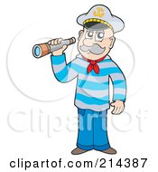 Royalty Free RF Clipart Illustration Of A Senior Sailor Using A Spyglass by visekart