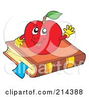 Royalty Free RF Clipart Illustration Of A Happy Red Apple On A Book