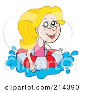 Royalty Free RF Clipart Illustration Of A Blond Summer Girl Swimming With A Life Buoy