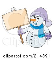 Royalty Free RF Clipart Illustration Of A Wintry Snowman With A Blank Sign 3