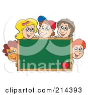 Royalty Free RF Clipart Illustration Of A Group Of School Children Around A Blank Chalk Board