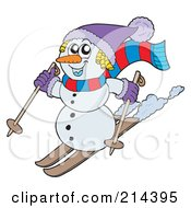 Royalty Free RF Clipart Illustration Of A Wintry Snowman On Skis by visekart