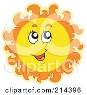 Royalty Free RF Clipart Illustration Of A Summer Sun Smiling And Looking Up