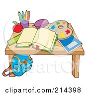 Royalty Free RF Clipart Illustration Of An Open Book And Art Supplies On A Desk