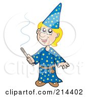 Royalty Free RF Clipart Illustration Of A Blond Wizard Boy Using A Magic Wand by visekart