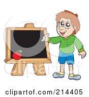 Royalty Free RF Clipart Illustration Of A School Boy Writing On A Chalkboard