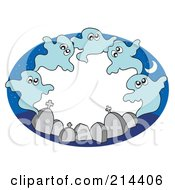 Royalty Free RF Clipart Illustration Of A Circle Of Ghouls And Tombstones