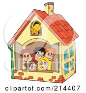 Royalty Free RF Clipart Illustration Of A Group Of School Children In A School House
