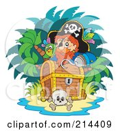 Royalty Free RF Clipart Illustration Of A Male Pirate Looking Over A Treasure Chest
