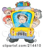 Royalty Free RF Clipart Illustration Of A Group Of School Children On A School Bus