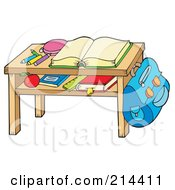 Royalty Free RF Clipart Illustration Of An Open Book And Supplies On A Desk by visekart