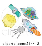 Royalty Free RF Clipart Illustration Of A Digital Collage Of Outer Space Items