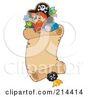 Royalty Free RF Clipart Illustration Of A Pirate And Parrot On A Parchment Scroll
